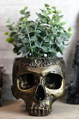 Ebros Day Of The Dead Barocco Floral Scroll Half Skull Planter Decor Bowl