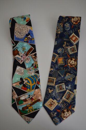 Set of 2 Vintage Disney World Mickey Mouse Pluto Inc. Silk Ties