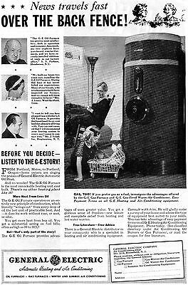 1938 Vintage Print Ad of GE General Electric Oil Furnace