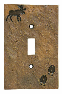 Moose and Tracks Rustic Hand-Cast Single Switch Plate Cover Moose Single Switchplate
