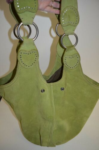Lucky Brand Peace  Hippie Suede Leather Green Extra Large hobo Purse Bag