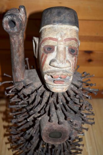 Antique Bakongo Protective Wooden Male Statue African Nail Fetish CONGO, Africa