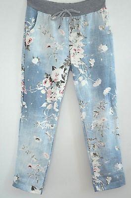 ITALY  Sweat Hose Baggy Jogging Pants Blumen Print 40 42 44 Jeansblau NEU