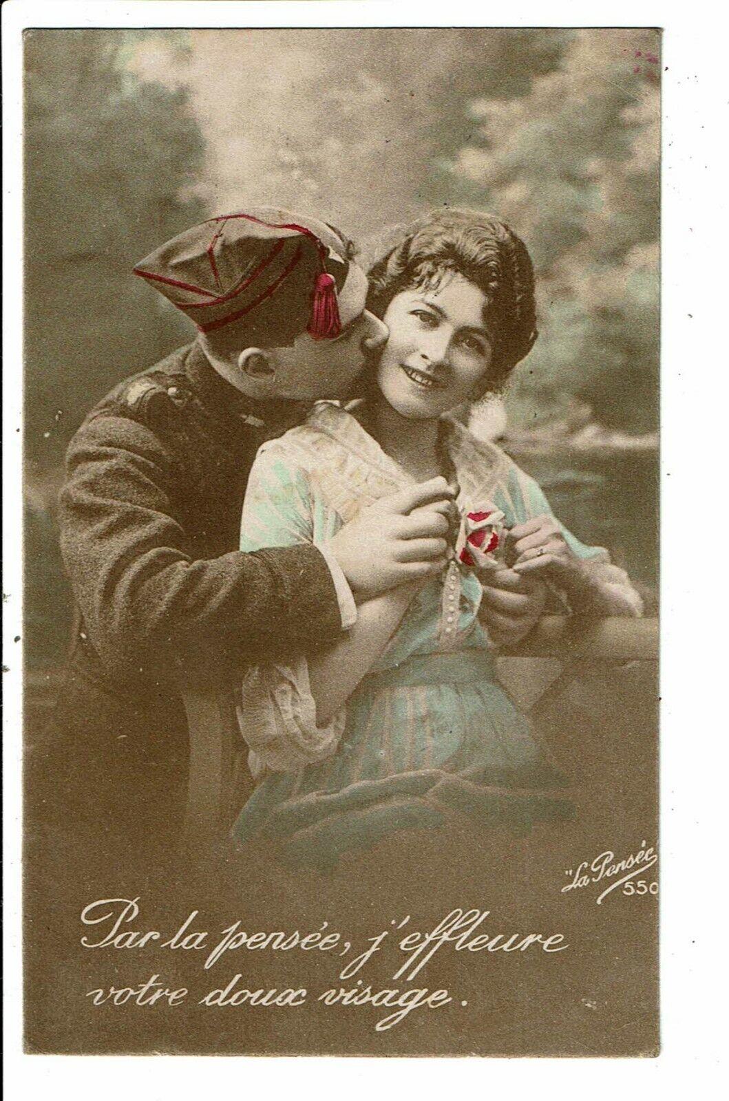 CPA-Carte Postale -FRANCE-Couple Par la pensée,j'effleure votre doux visage