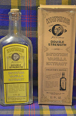 Vintage COLLECTOR'S EDITION WATKINS Double Strength Vanilla Bottle/Cork&Box