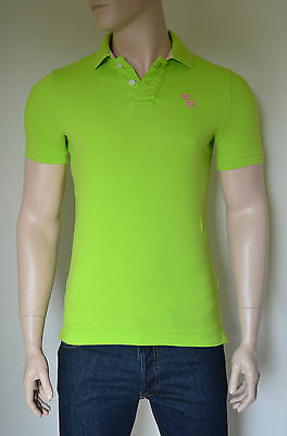 NEW Abercrombie & Fitch Mount Marshall Polo Shirt Green Pink Moose S...