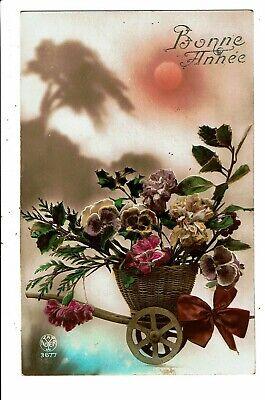 CPA-Carte postale-Belgique-Bonne année-Un panier de fleurs sur un chariot 1922