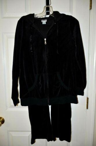 Motherhood Maternity PS Black Velour Lounge Set Pants Jacket Jogging Track Suit