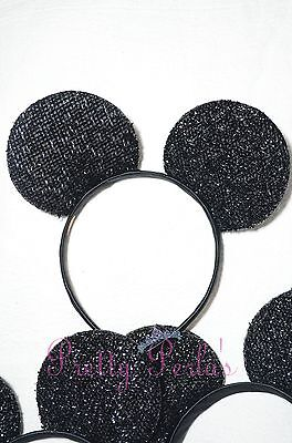 12pcs Minnie-Mickey Mouse Ears Headband Sparkle Shimmer Party Favors Lot Theme (Mickey Mouse Themed Parties)