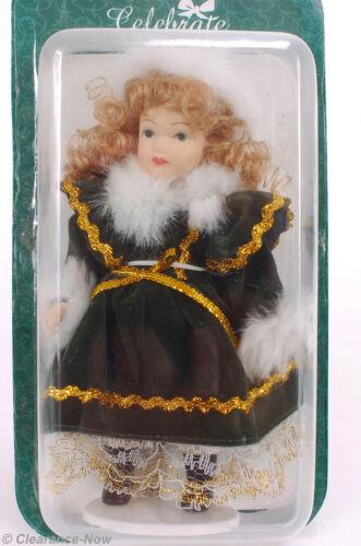 "Victorian Doll Christmas Ornament 5.5"" Tall Porcelain Fur Hat Collar Cuffs 1103"