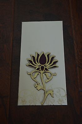 Cream And Gold Purple Lotus Money Holder Letter Envelopes 5 Pieces