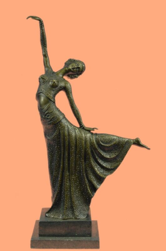 Signed D.H.Chiparus, bronze statue art deco dancer sculpture Marble Base Figure