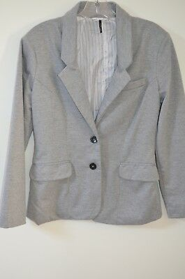100% Polyester Knit Jacket (Anthropologie Check & Stripe Gray Knit 100% Polyester Blazer Jacket Size M )