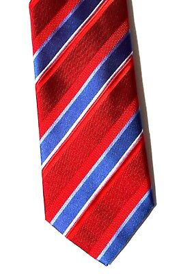 $235 BRIONI Tie Blue red stripes mens handmade printed silk tie ITALY Handmade Printed Silk Tie