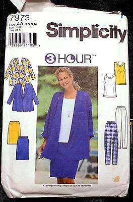 New! Simplicity #7973 Misses' Jacket, Top, Pants, Skirt Sz XS, S, M