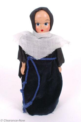 "Vintage Catholic Nun Doll 7.5"" Tall Velvet Skirt Arms Move Holy Figure 9970"