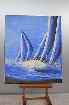 ANTIQUE PAINTING CANVAS PAINTING SAILBOAT WITHOUT FRAME WOOD SEA BOATS SIGN ?