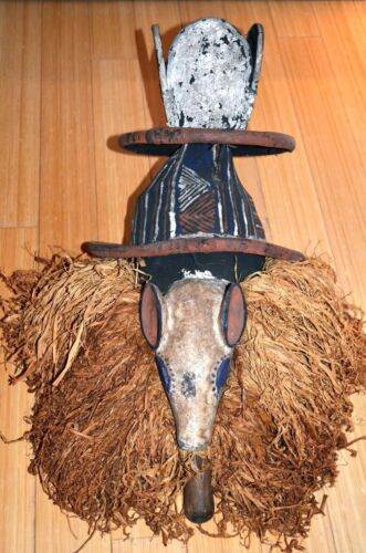 Old African Yaka Tribe Mukhanda Tudor Mask Male Initiation Ceremony Congo Africa