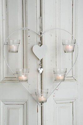 Windlicht Hängewindlicht Herz groß Kerzenleuchter Shabby Chic Landhaus