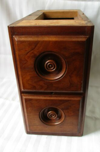 SET 2 ANTIQUE SOLID WALNUT TREADLE SEWING MACHINE DRAWERS in CASE