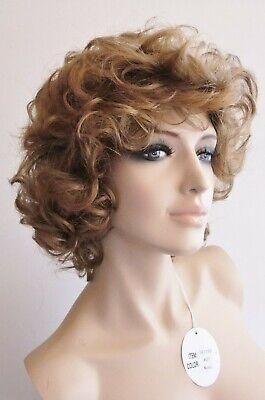 Hochwertige, modern gelockte Damen Perücke, Dkl. Goldblond, Lockenkopf - Blonde Mod Perücke