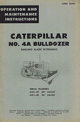 Caterpillar Vintage No. 4a Bulldozer Operation Maintenance Manual