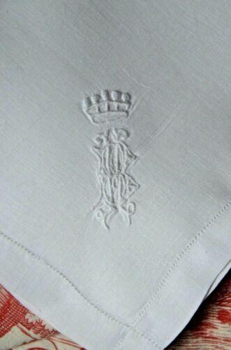 Antique French finest linen lawn handkerchief, BH monogram, coronet above