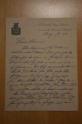 Brief von Bord der General von Steuben, Norddeutscher Lloyd Bremen