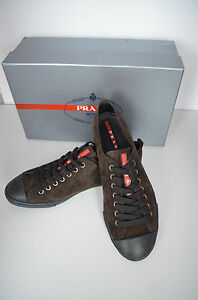New - Prada Suede Shoe/Trainers/Sneakers Brown (Size UK 8.5, EU 42.5, US 9.5.)