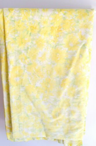 Vintage Yellow Floral Double Flat Pacific, Flowers Fabric, Boho Linens