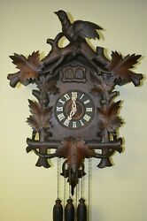 ANTIQUE GERMAN BLACK FOREST XTRA LARGE QUAIL CUCKOO CLOCK WITH LARGE BIRD
