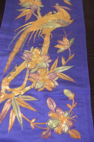 VINTAGE CHINESE EMBROIDERED SILK PANEL COUCHED METALLIC THREADS UU451