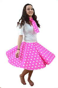 PINK-LADIES-Adults-POLKA-DOT-ROCK-AND-ROLL-50s-SKIRT-SCARF-FANCY-DRESS-COSTUME