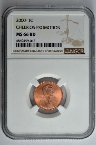 2000 1c Lincoln Cent Cheerios Promotion NGC MS 66 RD