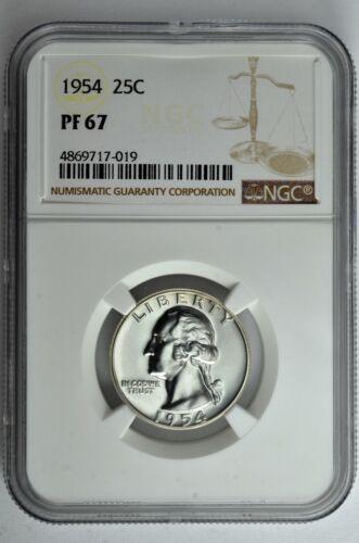 1954 25c Silver Proof Washington Quarter NGC PF 67