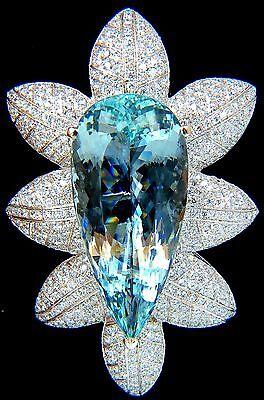 GIA CERTIFIED 69.37CT NATURAL AQUAMARINE DIAMONDS 3D PENDANT BROOCH 18KT