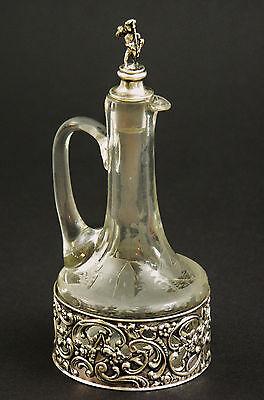 (17) Karaffe Decanter Likör Wein Essig 800er Silber Glas Hanau um 1900