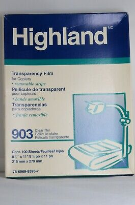 Highland Transparency Film For Plain Paper Copiers 903 Clear Open Box 100 Sheets
