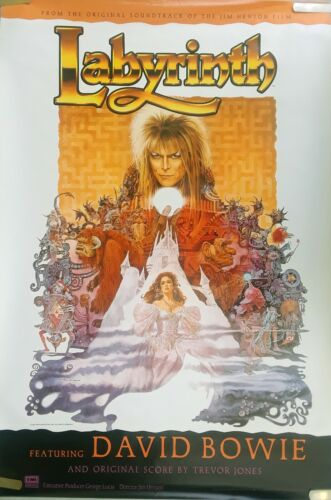 VERY RARE DAVID BOWIE LABYRINTH 1986 VINTAGE MUSIC STORE SOUNDTRACK PROMO POSTER