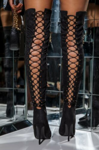 NEW Pointed Toe Stretchy Over The Knee Thigh High Boots Stiletto Heel Lace-Up