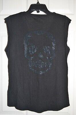 $118 NEW Zadig & Voltaire Brooklyn Skull Tee Tank Top Metallic Embellished M