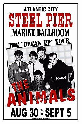 THE ANIMALS 1966 Atlantic City NJ STEEL PIER  Art Rendition Poster THouse 2016