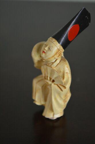 Vintage Asian Netsuke Resin/Plastic Pendant Black Cap, Red Dot