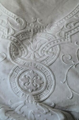 Spectacular Antique French marcella  dowry hand embroidered white work bed cover