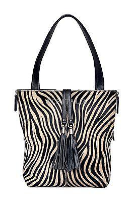 New Deluxe Ladies Black Real Cow Fur Zebra Print Leather Shoulder Strap Handbag