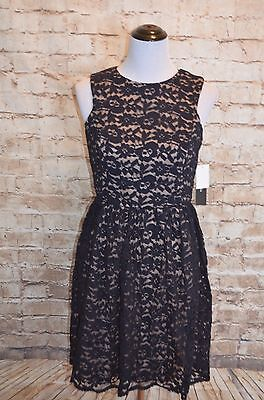 Modcloth Perfect Dance Partner Dress NWT 6 Navy nude  a-line Ivy Blue lace