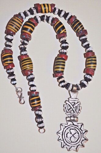Ethiopian Christian Cross Amulet Necklace Antique Venetian Beads Ethiopia Africa