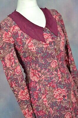 LAURA ASHLEY Vintage burgundy floral victorian collared tea dress SMALL 10