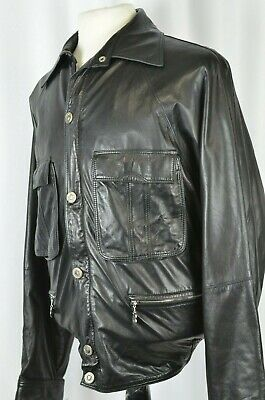 Gianni Versace Men's Leather Jacket Sz Large Bomber Style Black Full Zip Medusa