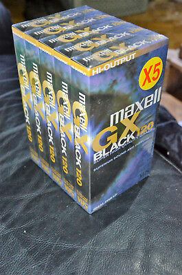 5 Pack Maxell GX Black 120 High Grade Brand New Box - Info mmoetwil@hotmail.com